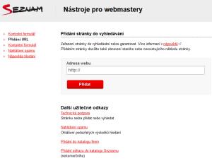 Nástroje pro webmastery přidání stránky do vyhledávání Seznam.cz
