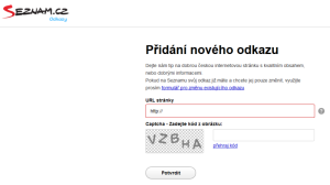 Přidání nového odkazu do katalogu odkazů Seznam.cz